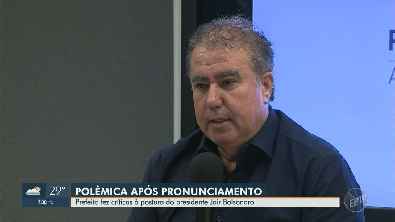 Prefeito de Campinas faz críticas à postura do presidente Jair Bolsonaro em pronúncia