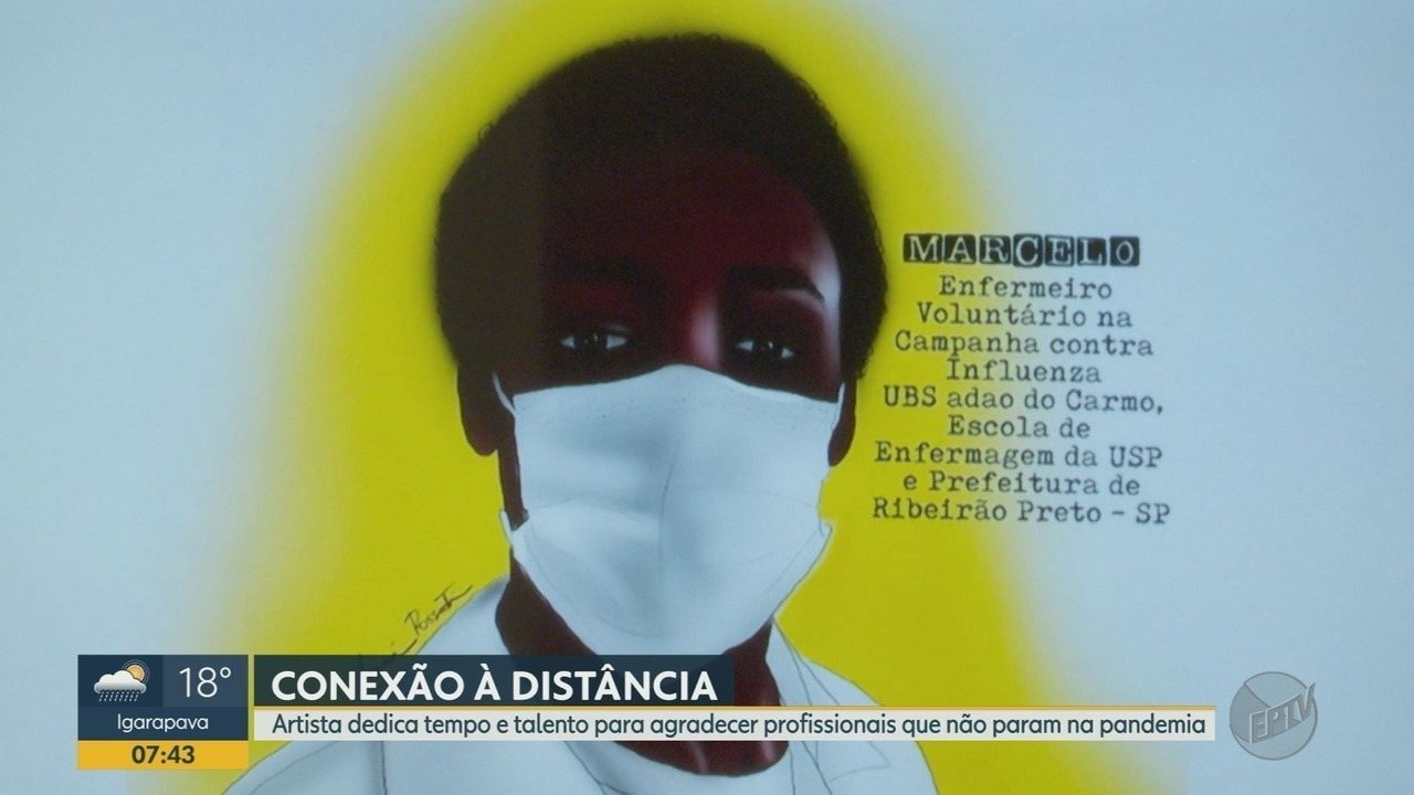 Artista dedica tempo e talento para agradecer profissionais que não param na pandemia