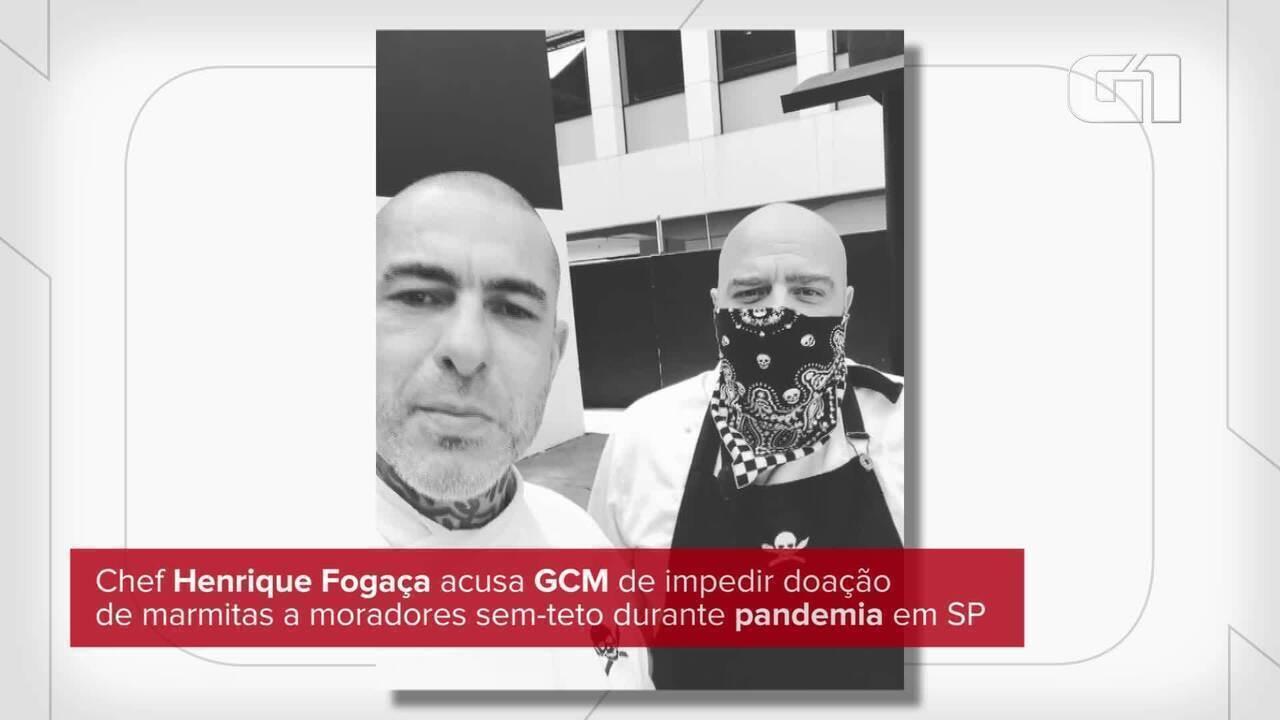 Chef Henrique Fogaça acusa GCM de impedir doação de marmitas a moradores sem-teto em SP