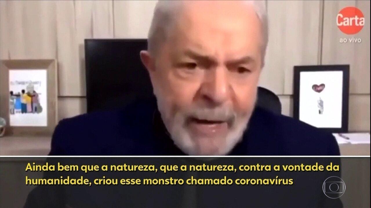 """""""Ainda bem que a natureza criou o monstro do coronavírus"""", diz Lula"""