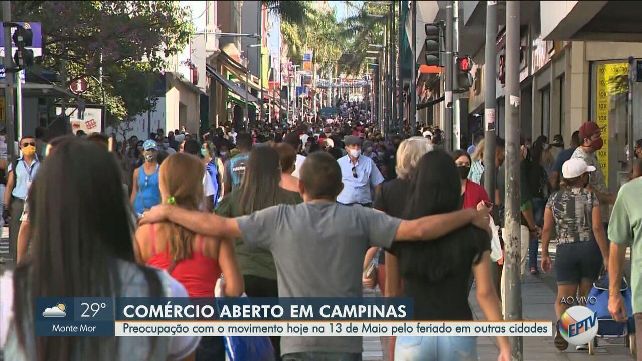 Veja imagens ao vivo da Rua Treze de Maio em Campinas desta quinta-feira