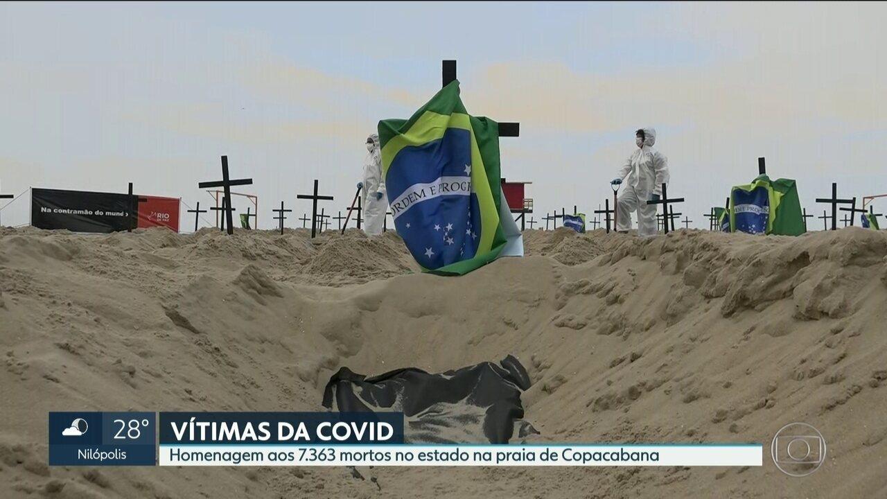 Homenagem às vítimas do Coronavírus em Copacabana.