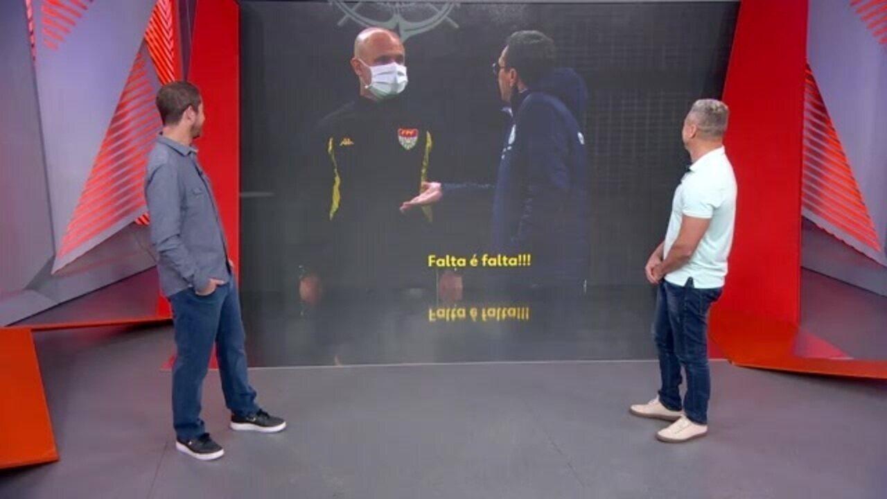 Felipe Andreoli e Paulo Nunes se divertem com o papo de Vanderlei Luxemburgo, do Palmeiras