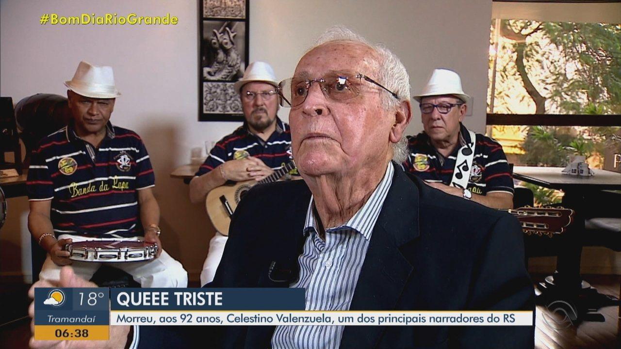 Morre Celestino Valenzuela, aos 92 anos, um dos principais narradores esportivos do RS