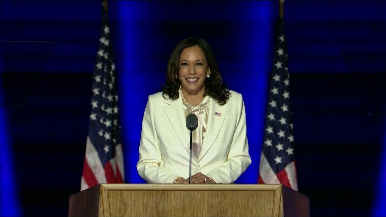 Kamala Harris faz primeiro discurso como vice-presidente eleita