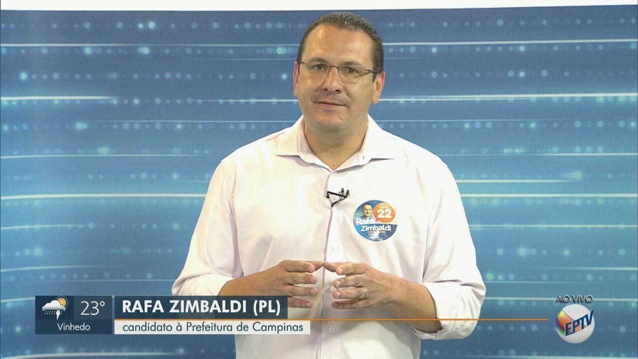 Rafa Zimbaldi (PL), candidato a prefeito de Campinas, dá entrevista ao EPTV 1