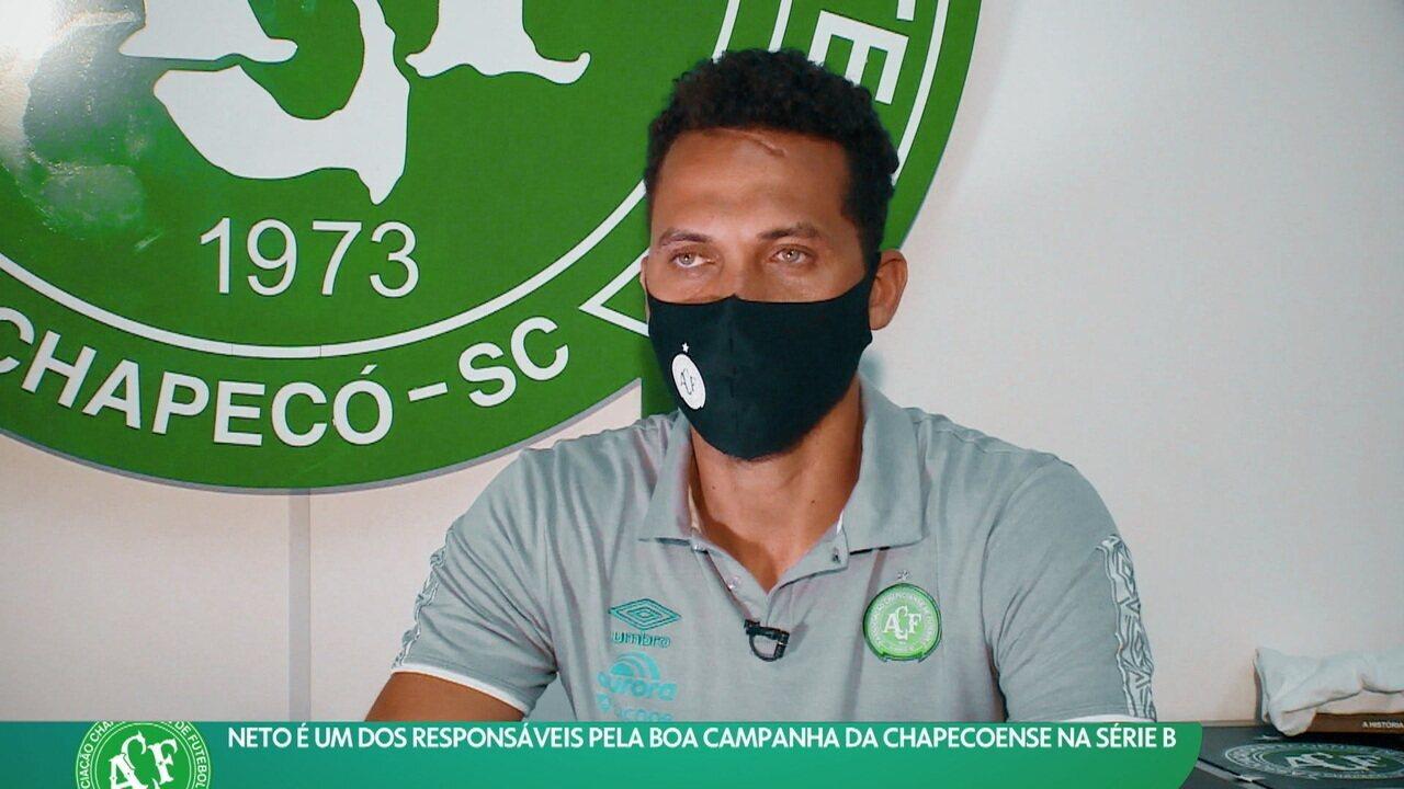 Neto é um dos responsáveis pela boa campanha da Chapecoense na Série B