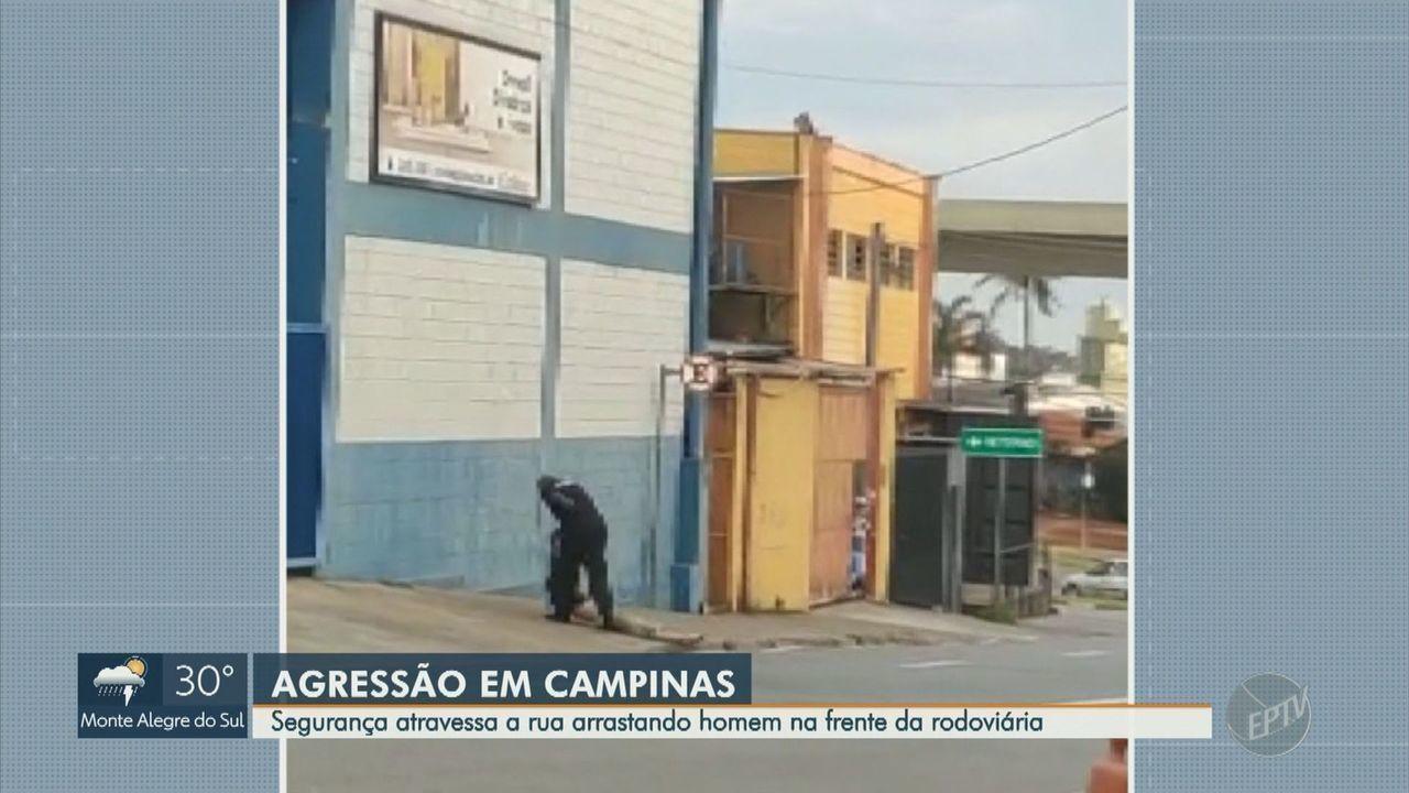 Segurança é flagrado arrastando homem pela rua na Rodoviária de Campinas