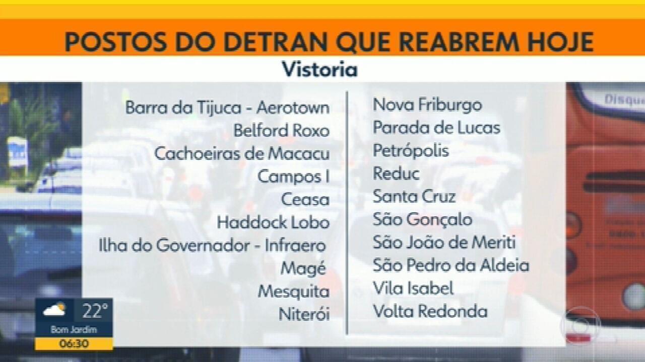 Vinte postos do Detran reabrem nesta segunda-feira (14) no RJ