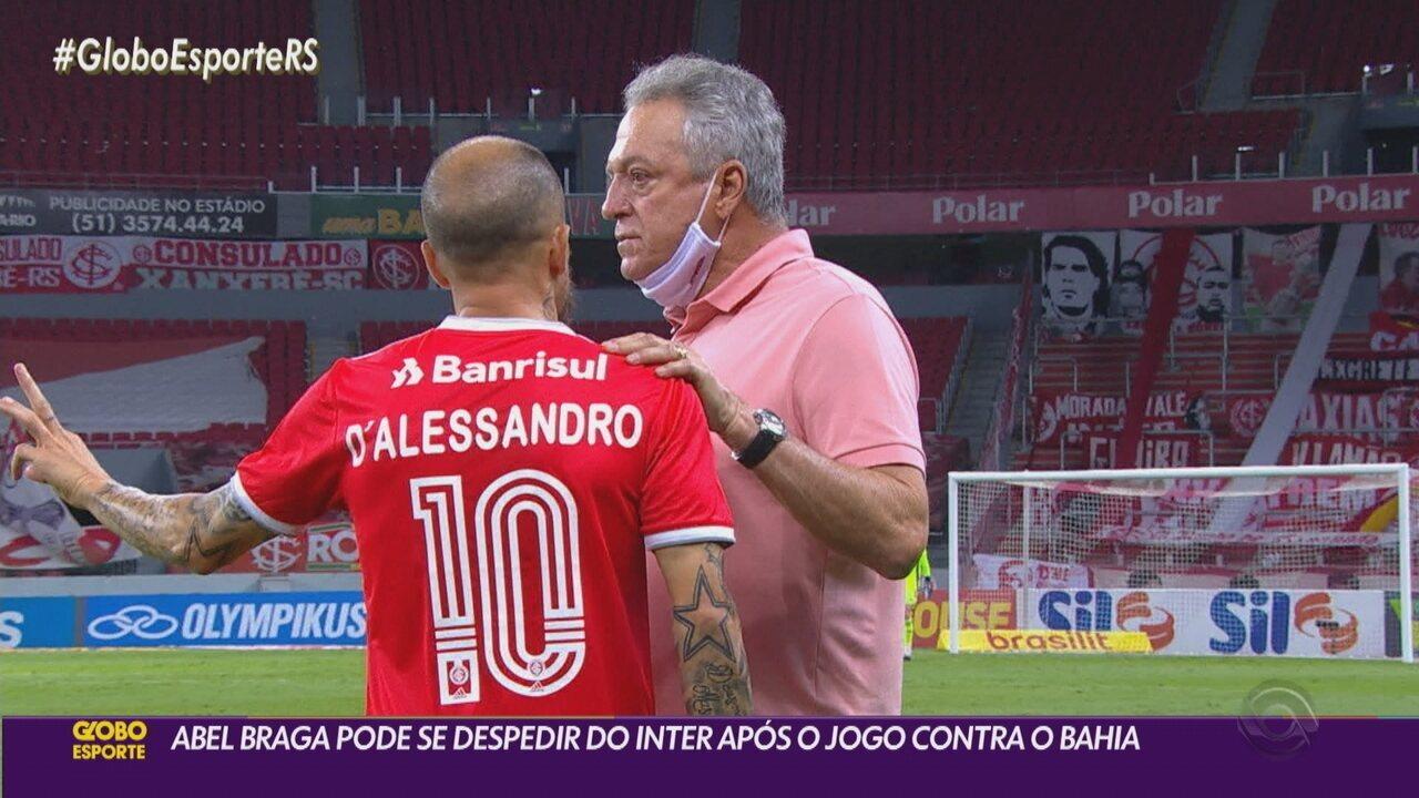 Abel Braga pode se despedir do Inter após a partida contra o Bahia, neste domingo