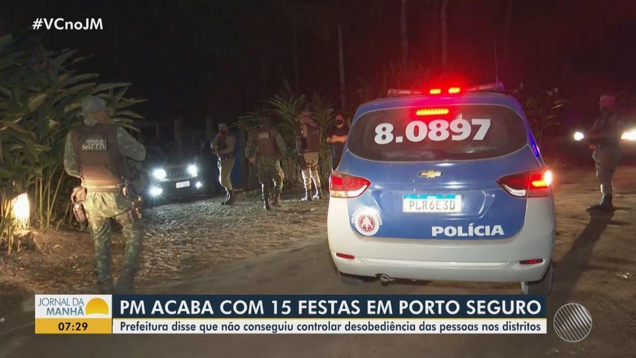 Jornal da Manhã | Polícia Militar encerra 15 festas de réveillon em Porto  Seguro, no extremo sul da Bahia | Globoplay