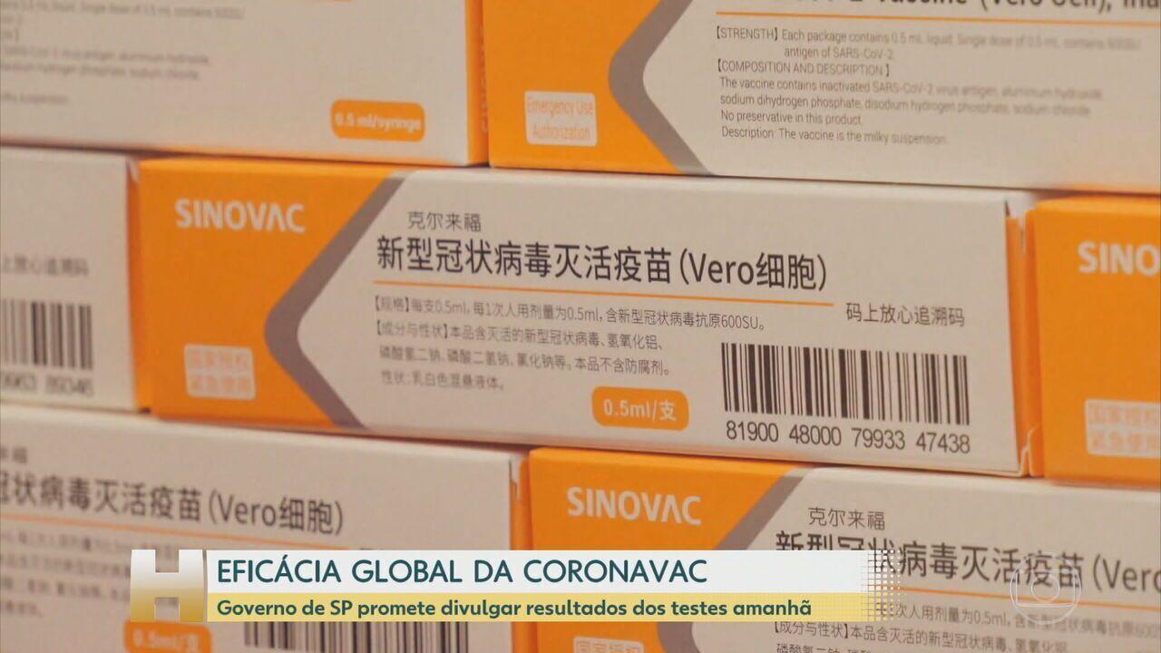 Dados da eficácia global da CoronaVac no Brasil serão apresentados pelo Butantan nesta terça (12)