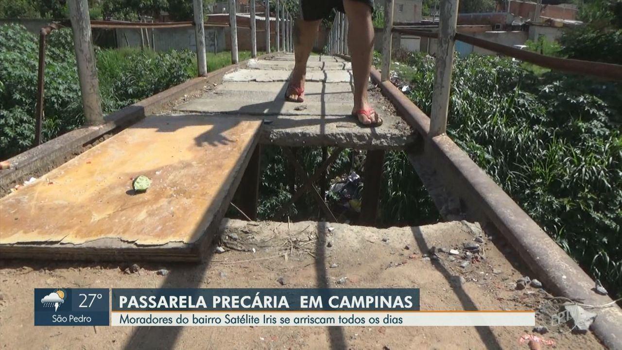 'Calendário': moradores se arriscam em passarela sem manutenção em Campinas
