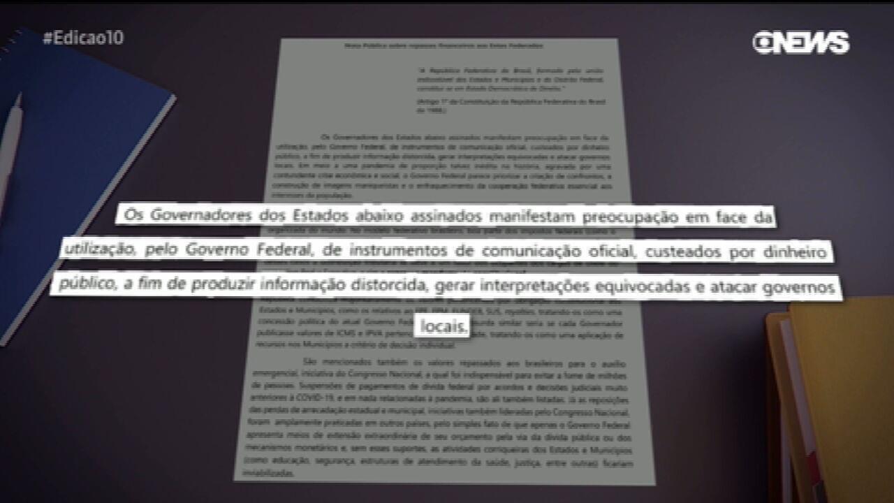 Governadores criticam União por publicação sobre repasses
