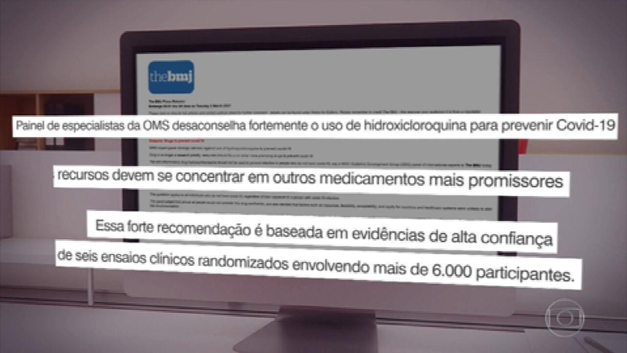 OMS desaconselha fortemente o uso de hidroxicloroquina para prevenir a Covid