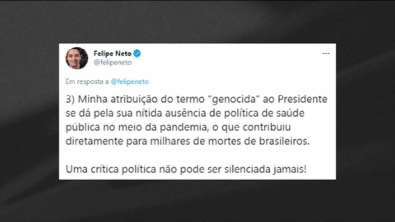 Felipe Neto é intimado a depor por chamar Bolsonaro de 'genocida'