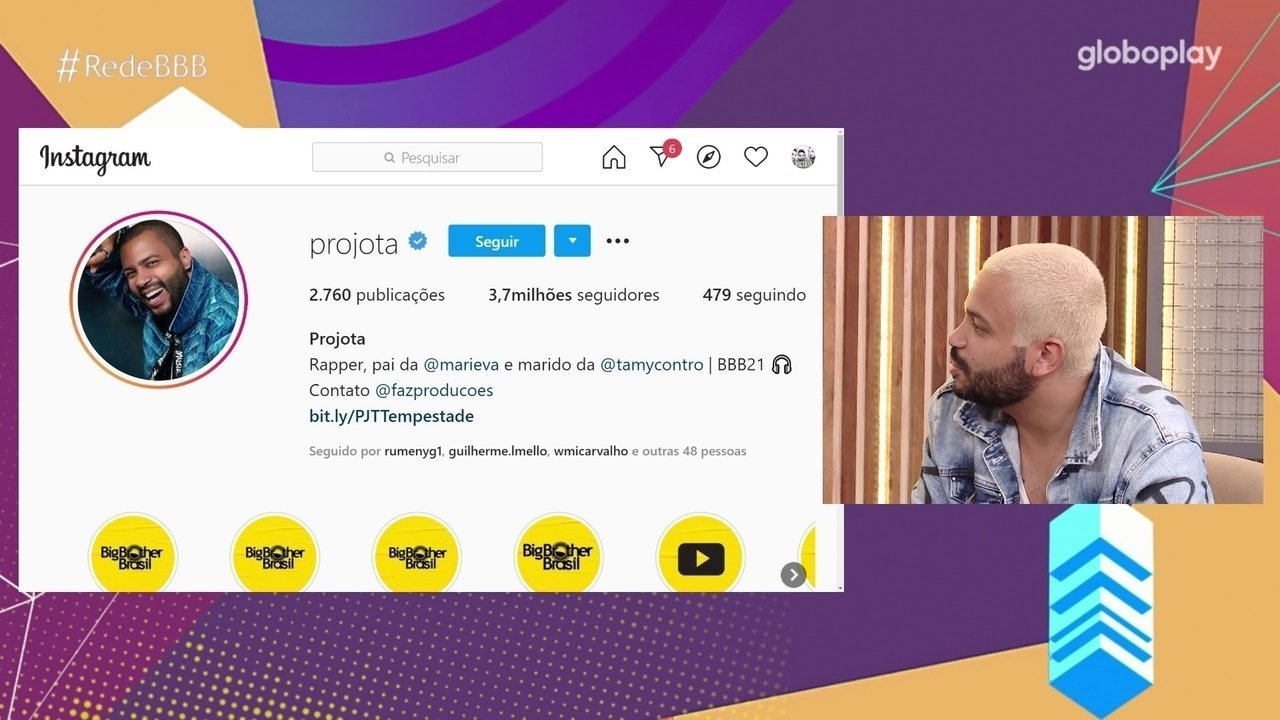 No Bate-Papo BBB, Projota se emociona ao ver redes sociais: 'São 20 anos de luta'