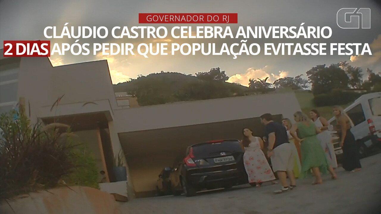 VÍDEO: Cláudio Castro celebra aniversário 2 dias após pedir que população evitasse festas