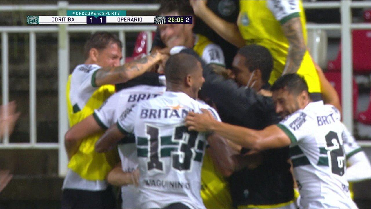 Os gols de Coritiba 3 x 2 Operário-PR pela segunda fase da Copa do Brasil