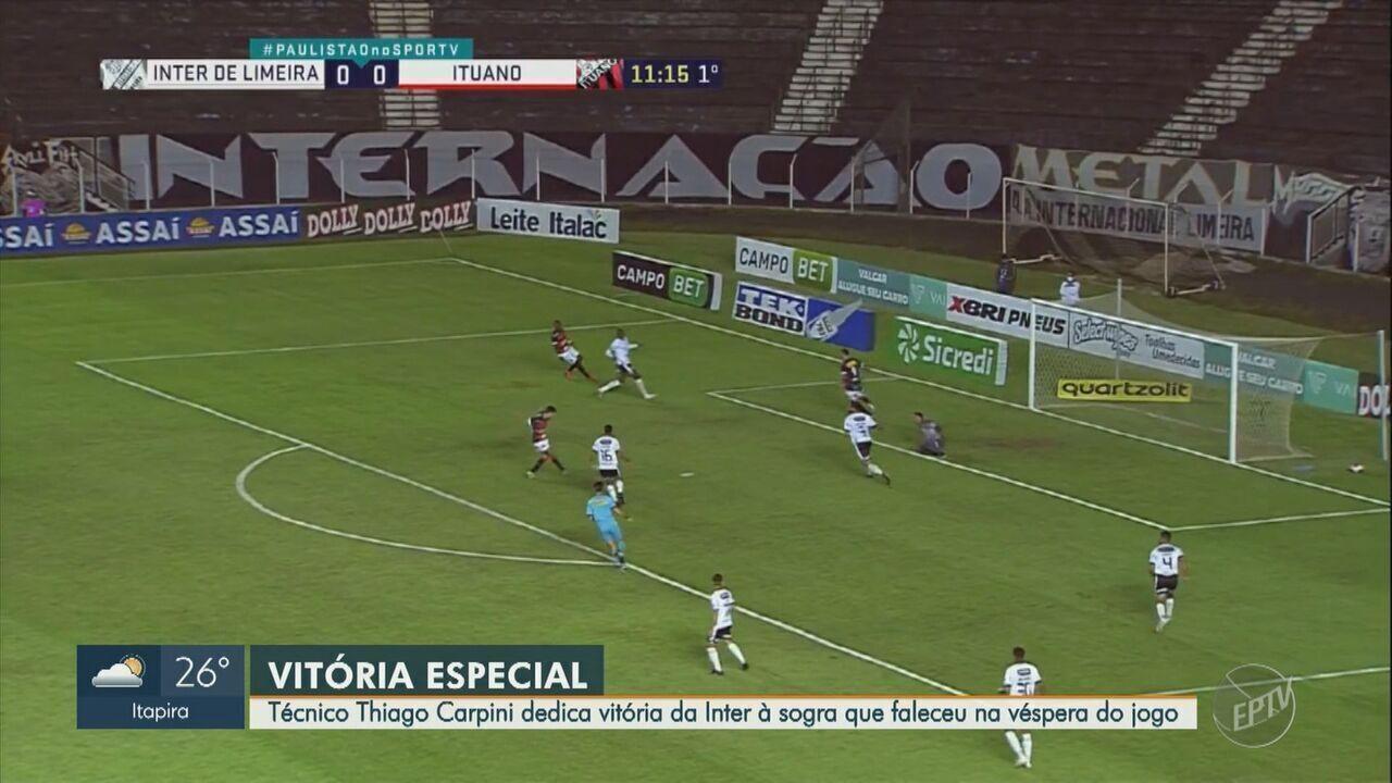 Técnico da Inter de Limeira dedica vitória à sogra, que morreu na véspera do jogo