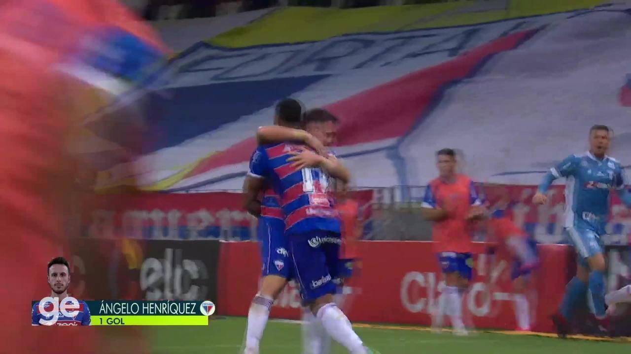 Aos 36 min do 2º tempo - gol de cabeça de Ángelo Henríquez do Fortaleza contra o São Paulo
