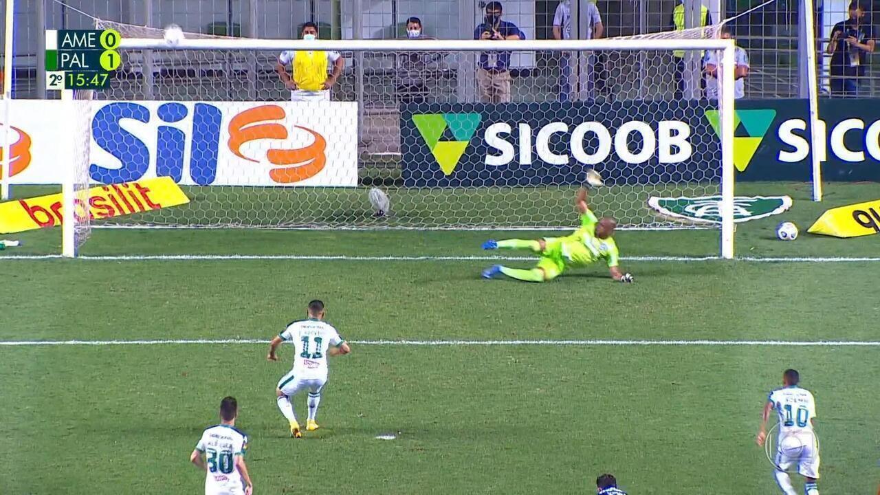 A los 15 minutos del segundo tiempo - Bola explotó sobre Jorge y el VAR entró en acción.  Penalti marcado y Felipe Azevedo perdido ante America-MG vs Palmeiras